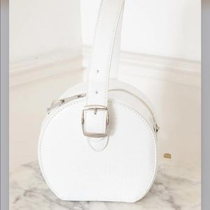 Circle Snake Skin Bag White Purse Hannah Small